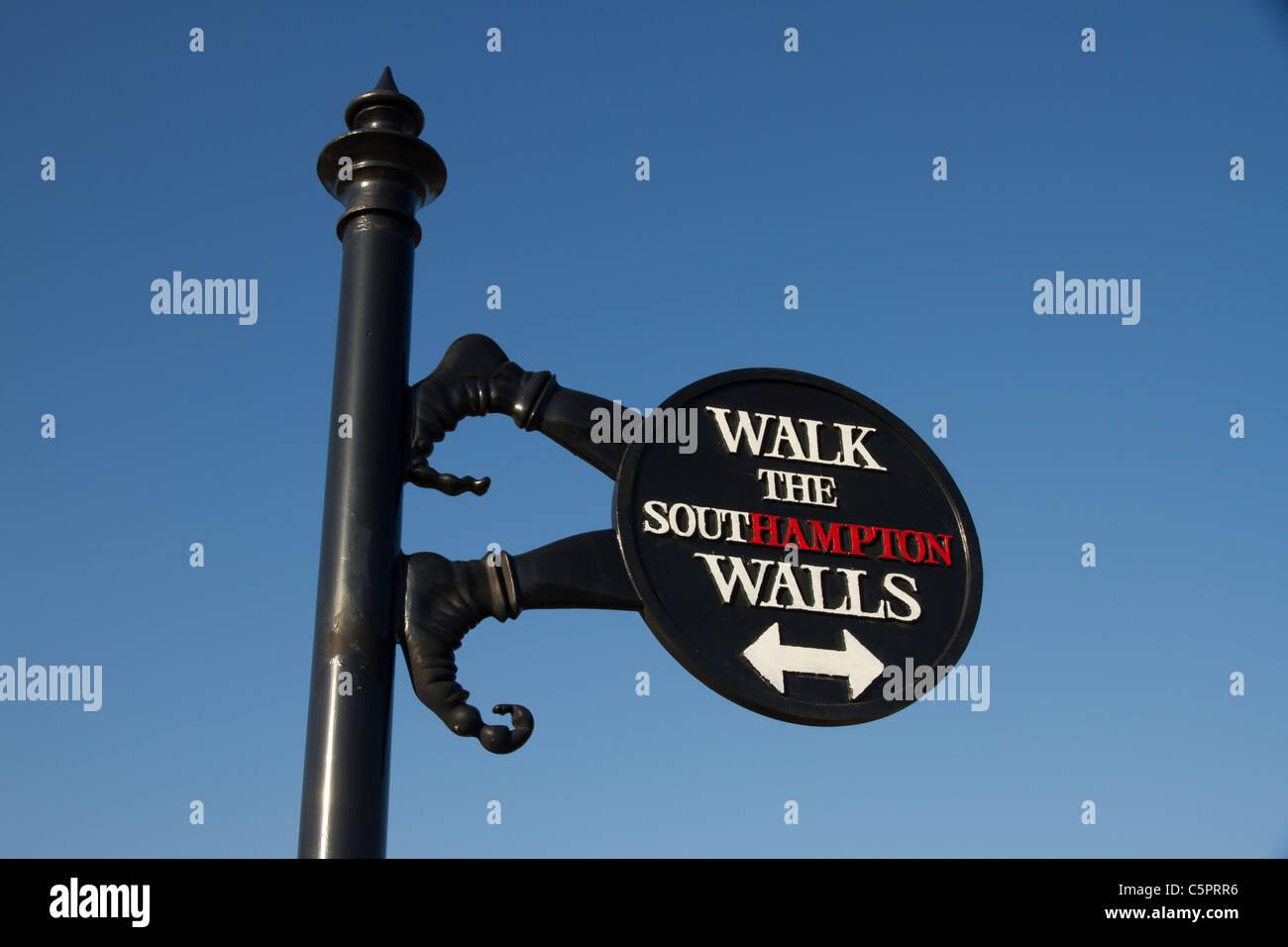 Walk the Southampton Wall sign, Hampshire , England - Stock Image