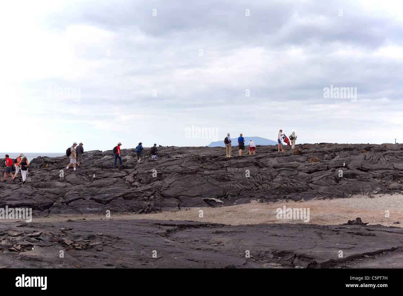 Tourists walking on the lava field at Punta Espinoza, Galapagos - Stock Image