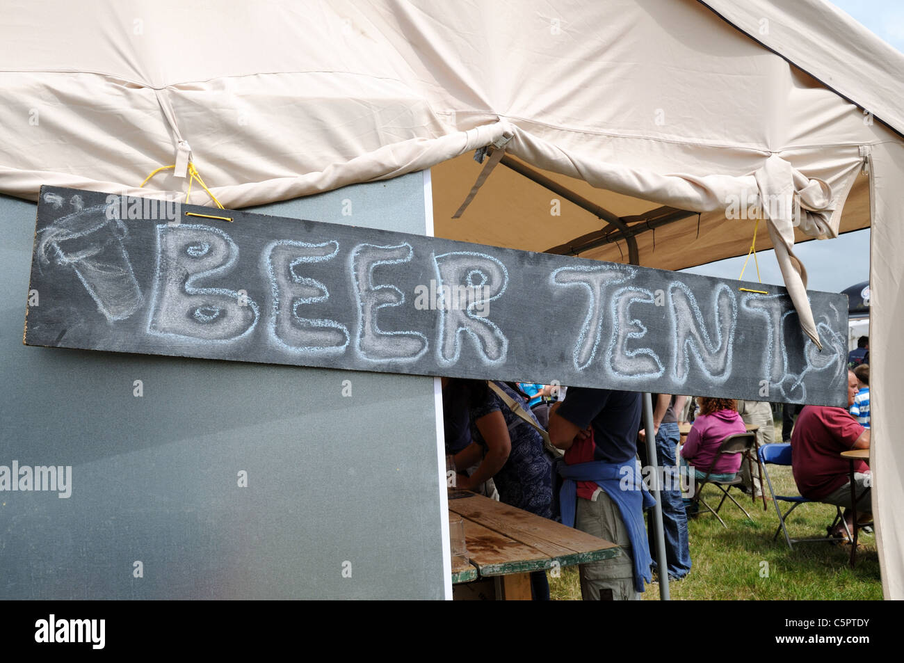 Hand written Beer Tent sign at the Really Wild Food and countryside Festival St Davids Pembrokeshire Wales Cymru - Stock Image