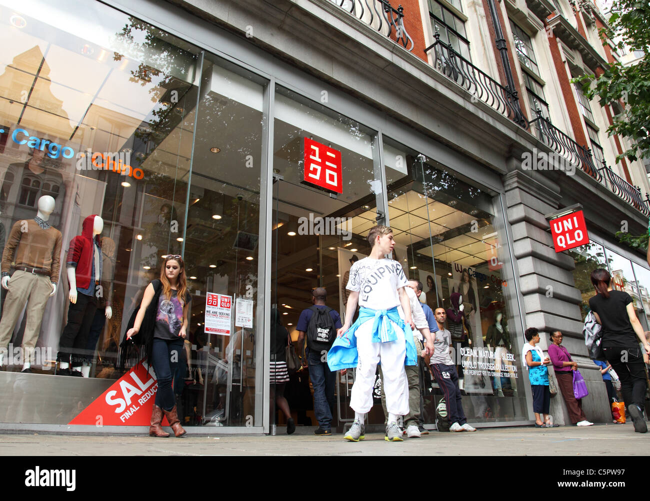 A Uni Qlo store on Oxford Street, London, England, U.K. - Stock Image