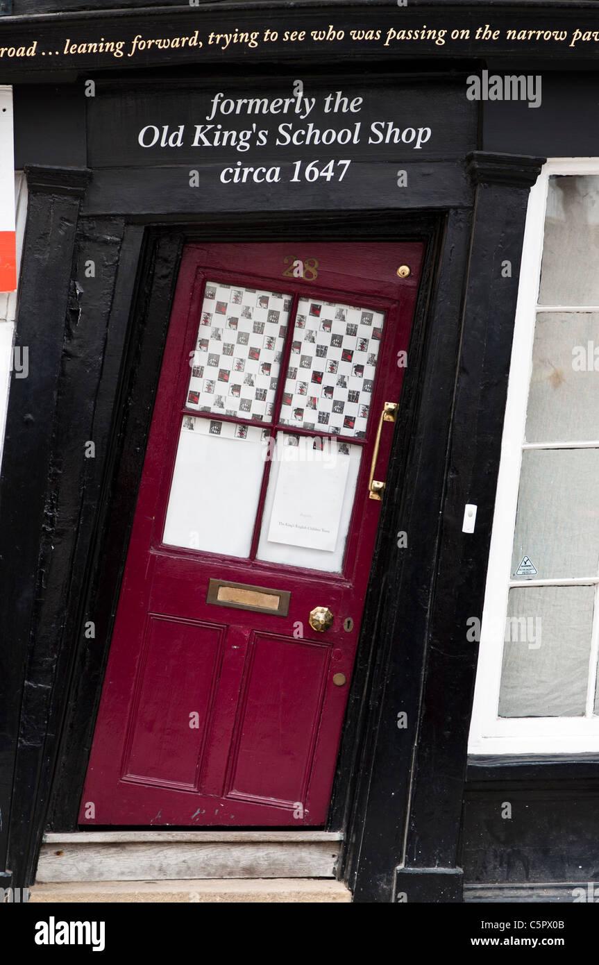Slanting Door of the Old King's School Shop, Canterbury, UK - Stock Image