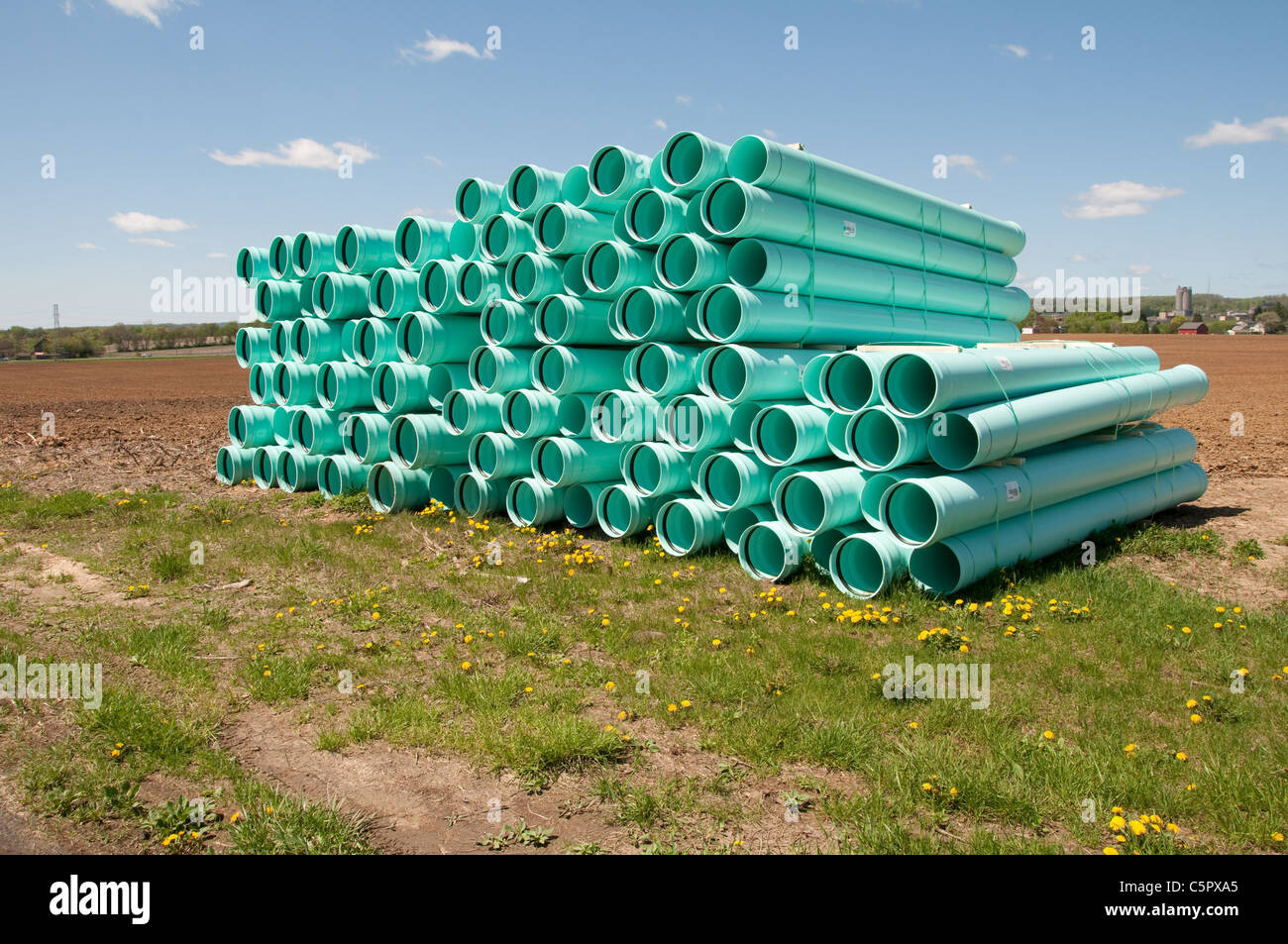 pile of sewer or drainage piping - Stock Image