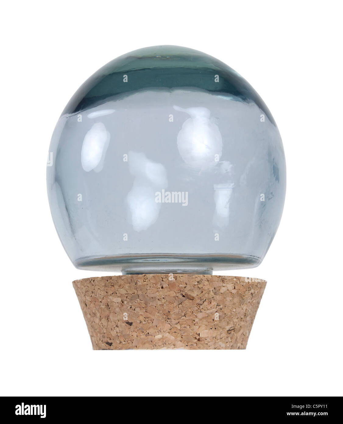 Glass orb ball container with large cork stopper - path included - Stock Image