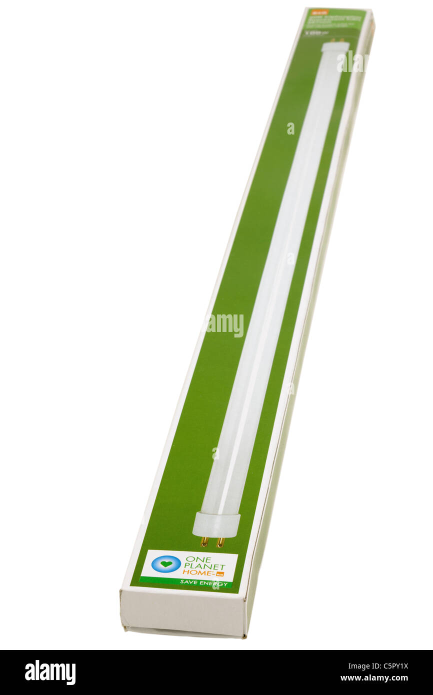 Long slimline boxed B&Q100 watt fluorescent replacement light tube. - Stock Image