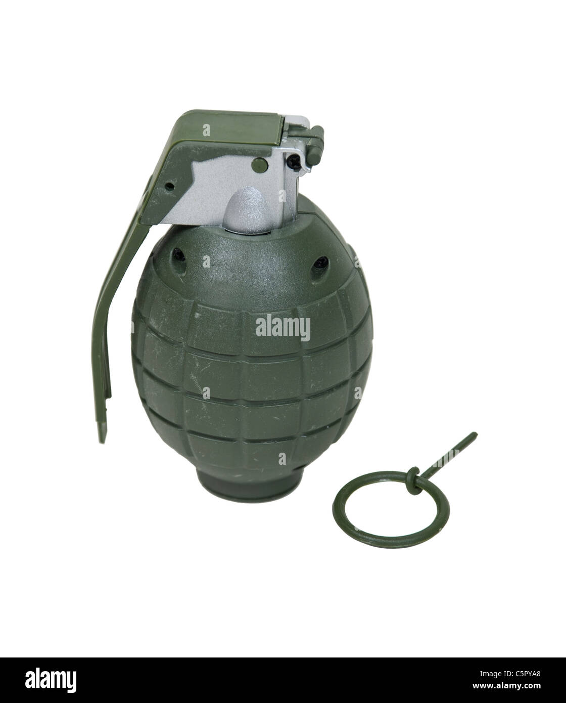 Green retro military grenade for blowing up things - Path included - Stock Image