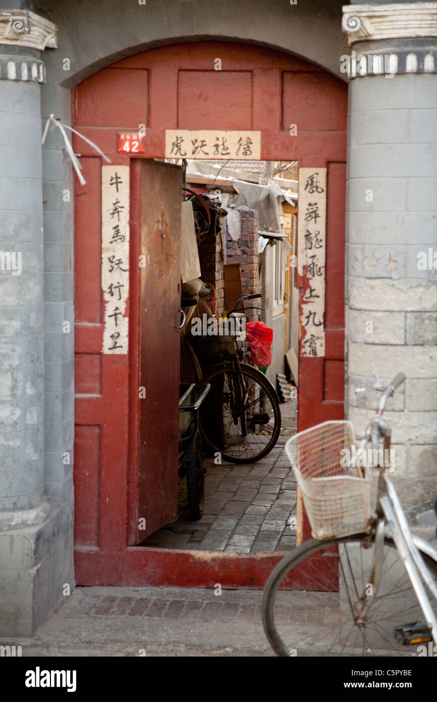 Streets and alleys of the Hutong of Beijing, China - Stock Image