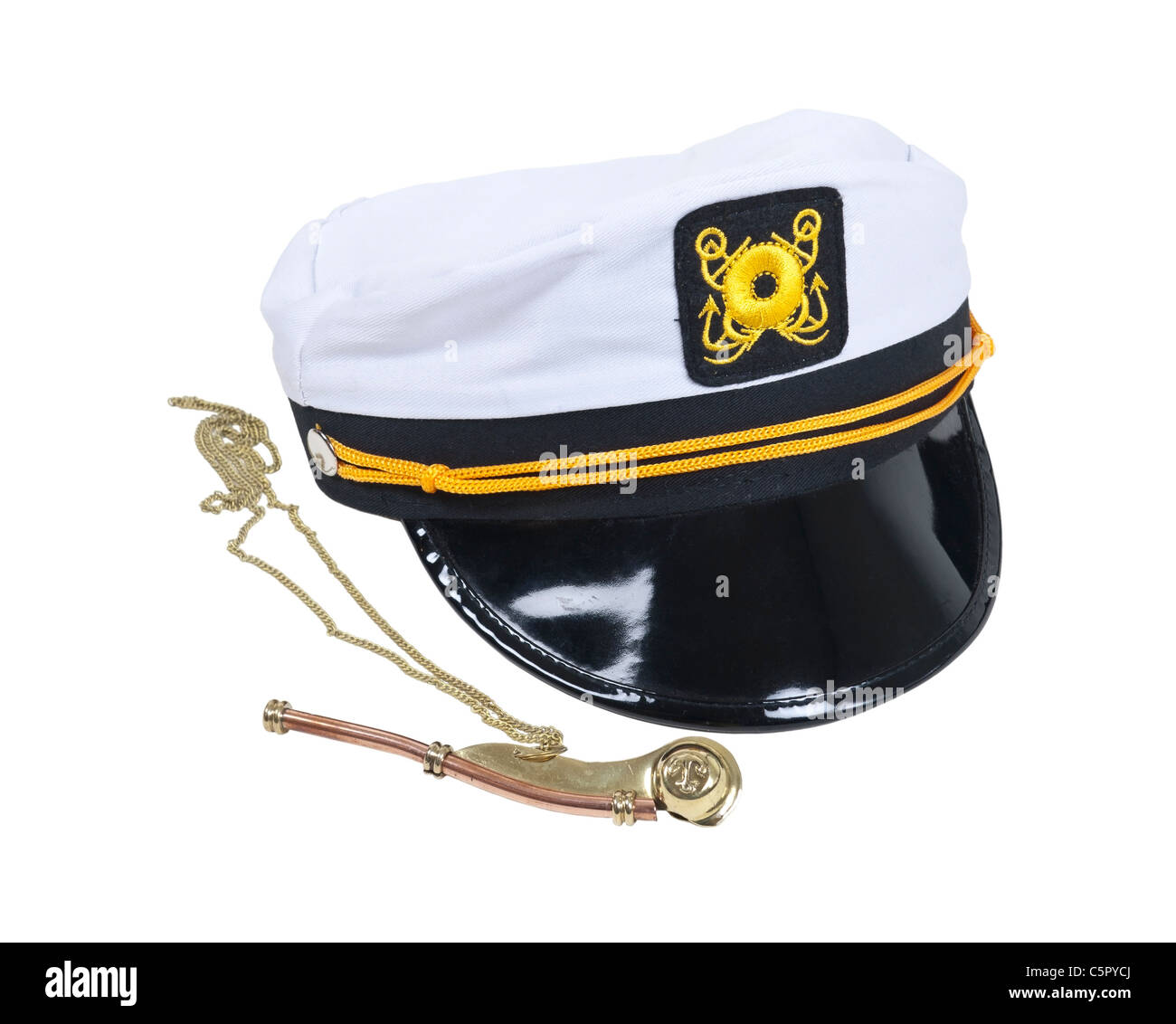White Nautical hat with black brim and yellow braids with a brass whistle - path included - Stock Image