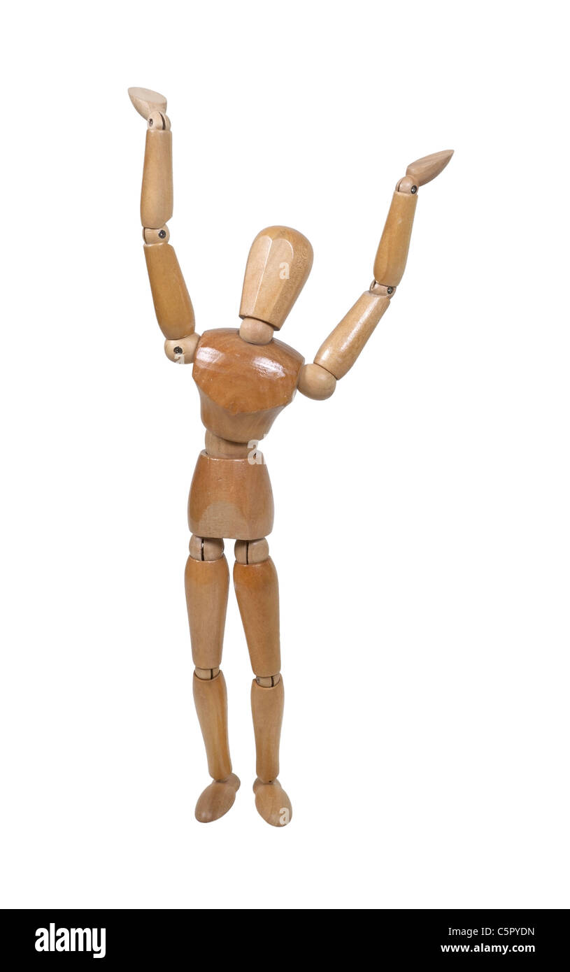 Wooden model representing a person stretching - path included - Stock Image