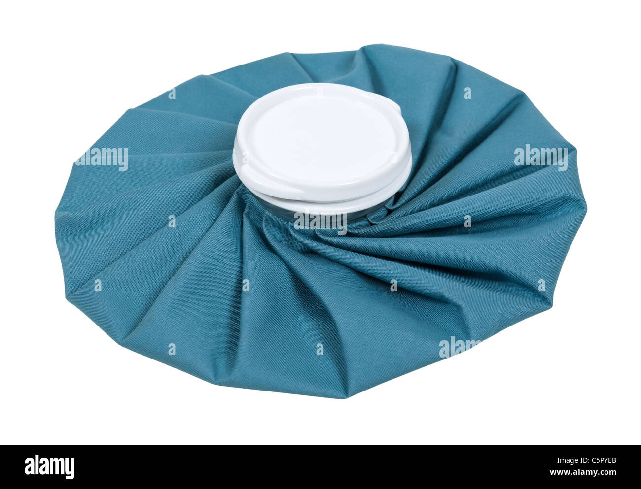 Retro pleated blue ice pack for first aid use - path included - Stock Image