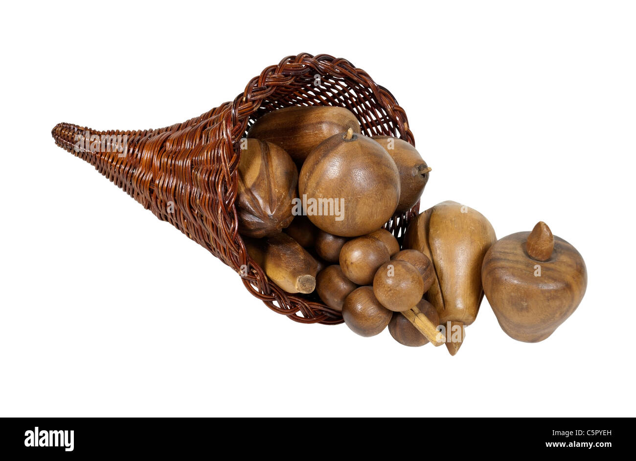 Preserved abundance cornucopia wicker horn which is symbolic for plentiful abundance - path included - Stock Image