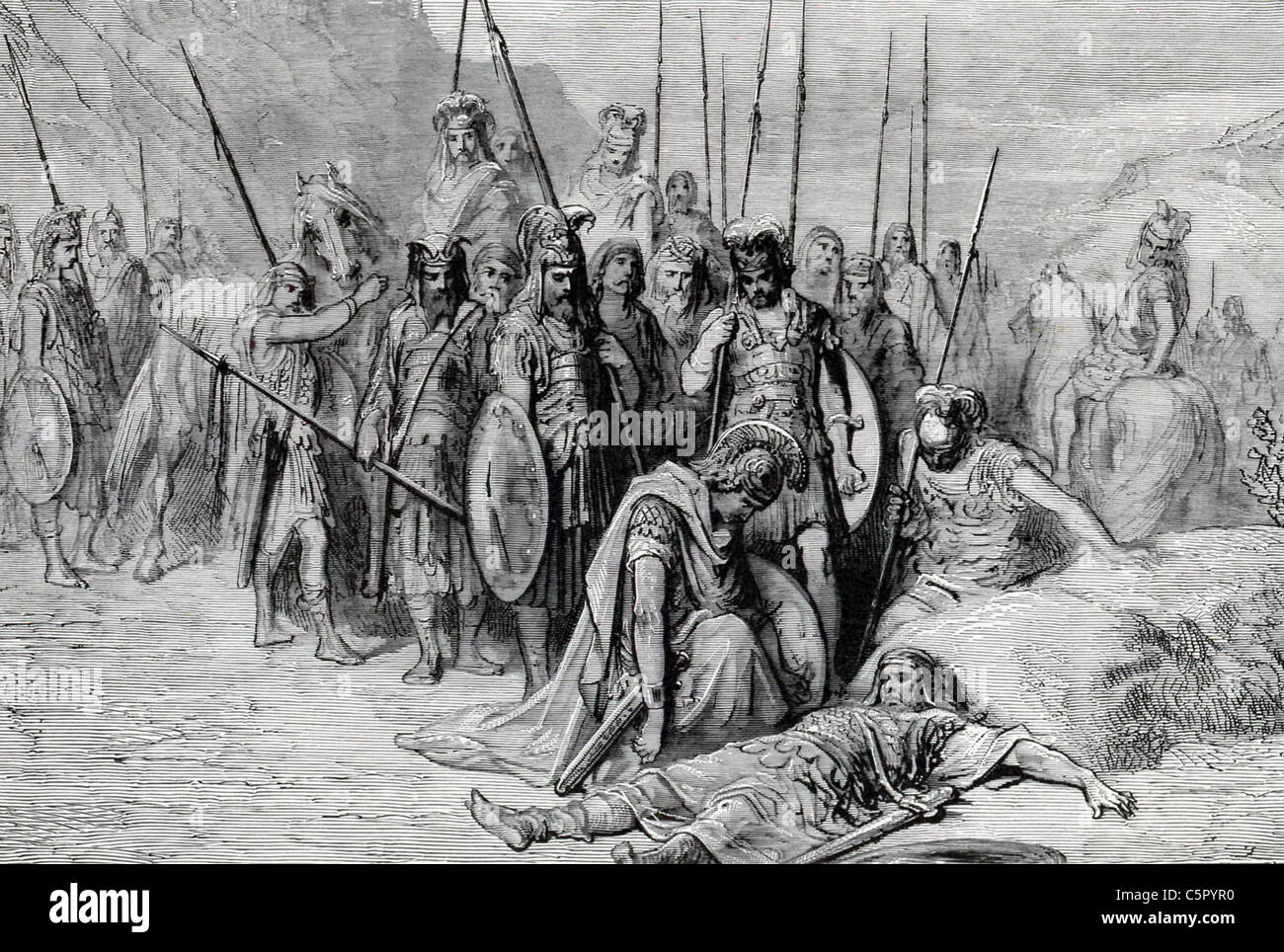 Following battle of Gaugamela, Alexander the Great came upon the dying Darius and ordered a proper burial for him. - Stock Image