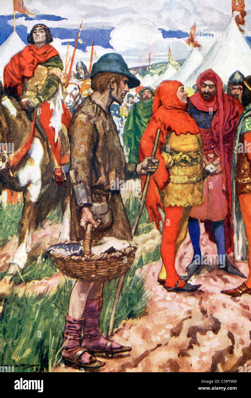 Philip of Valois, France's Philip VI, disguised himself as seller of fish to enter the French camp during the - Stock Image