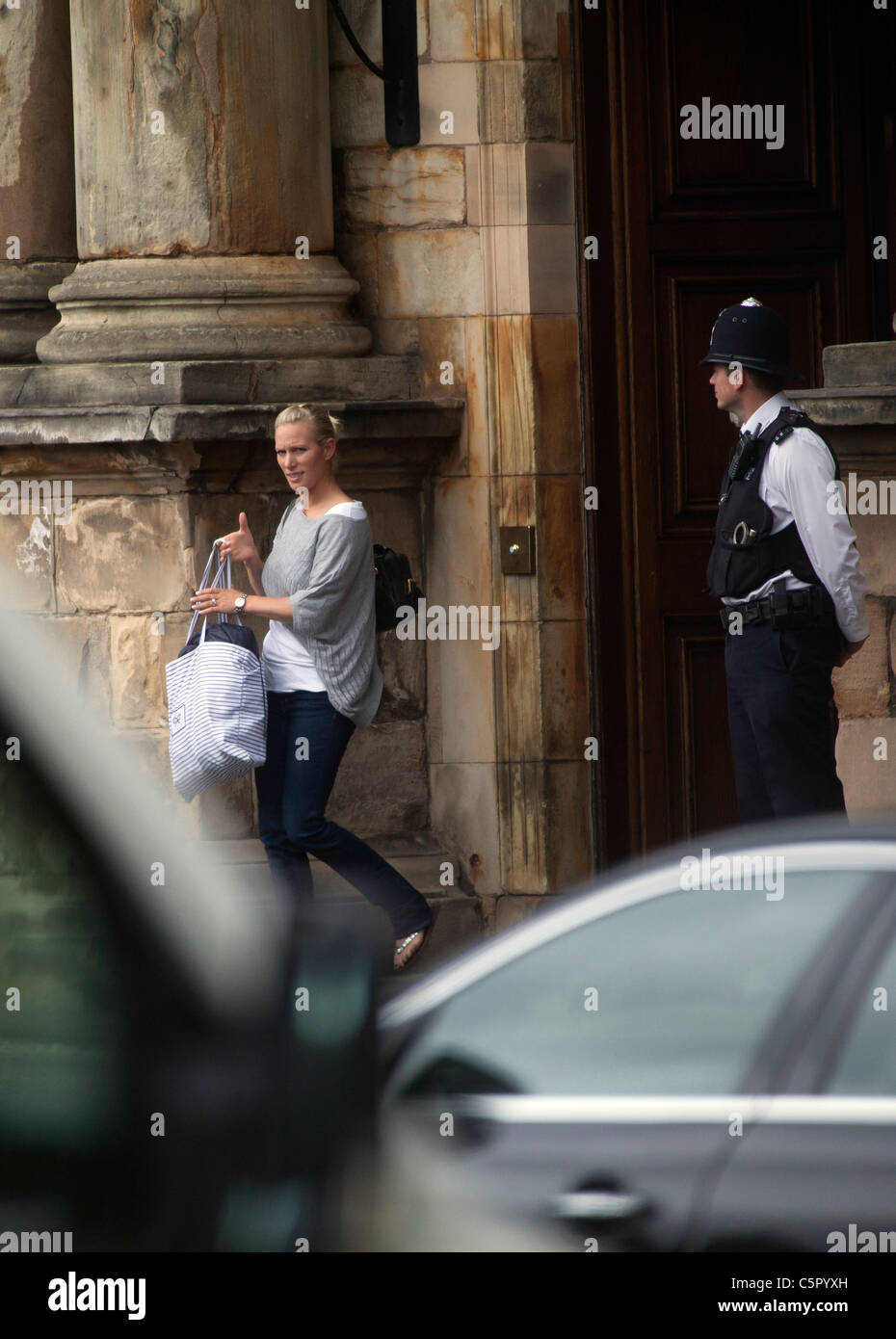 Zara Phillips leaves the Palace of Holyroodhouse the day after her wedding in Edinburgh. - Stock Image
