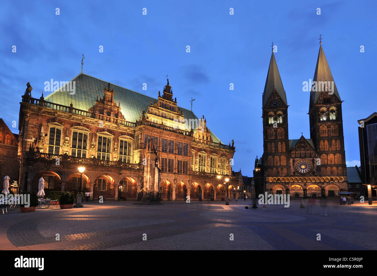 market square of Bremen in Northern Germany with old town hall and St. Petri cathedral, 2011 - Stock Image