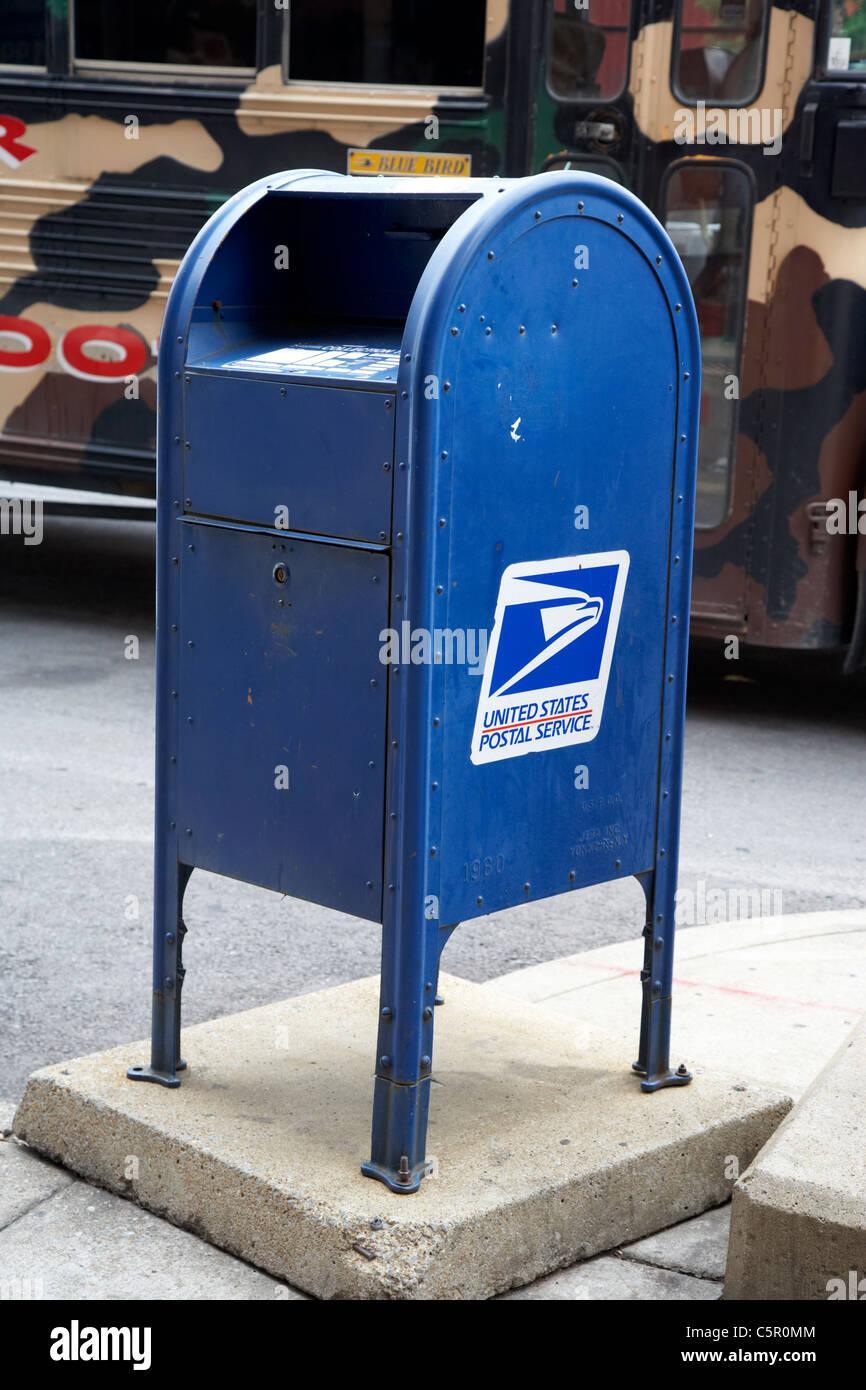 united states postal service mailbox on street Nashville Tennessee USA - Stock Image