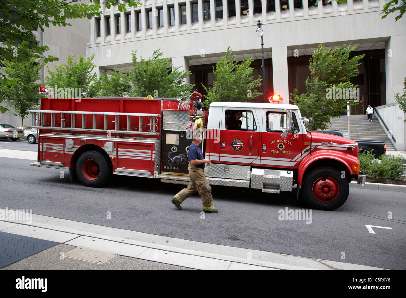 Nashville fire department fire truck tender Tennessee USA - Stock Image