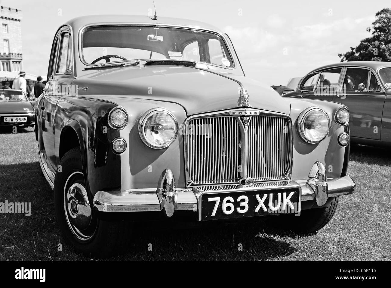 A black and white study of a classic Rover 100 saloon car Stock Photo