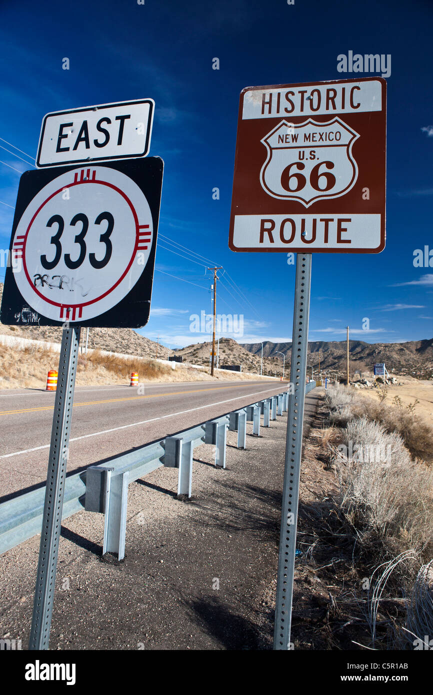 Historic Route 66 sign and New Mexico route 333 sign, Albuquerque, New Mexico, United States of America - Stock Image