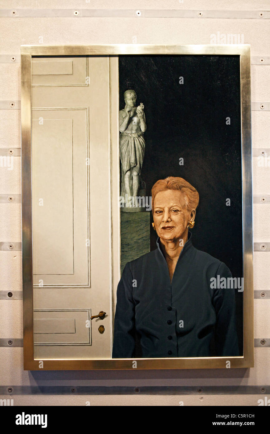 A contemporary portrait of the queen Margrethe II. Frederiksborg palace, Hillerod, near Copenhagen, Denmark - Stock Image