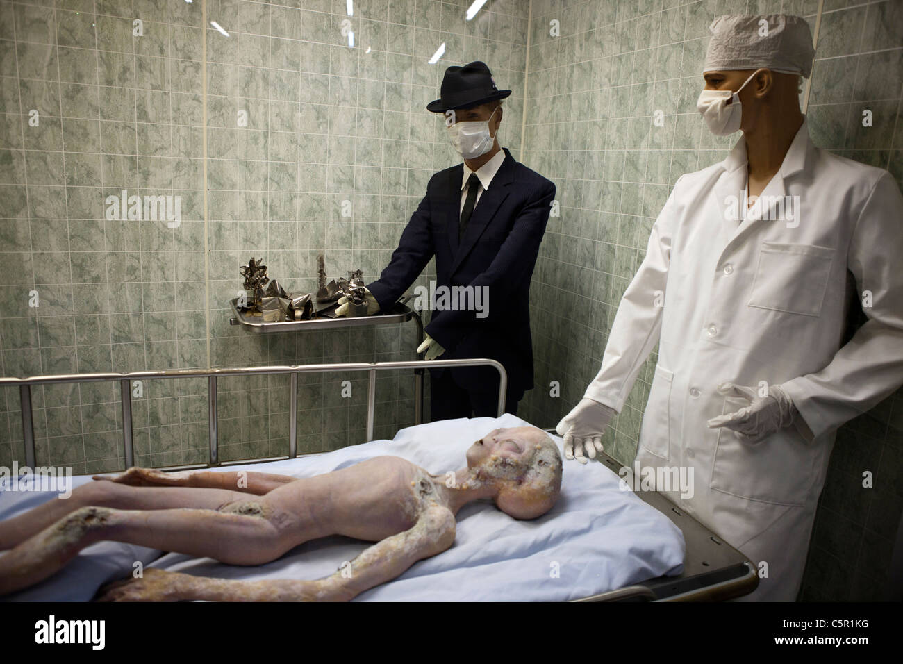 Alien autopsy exhibit, International UFO Museum and Research Center, Roswell, New Mexico, United States of America - Stock Image