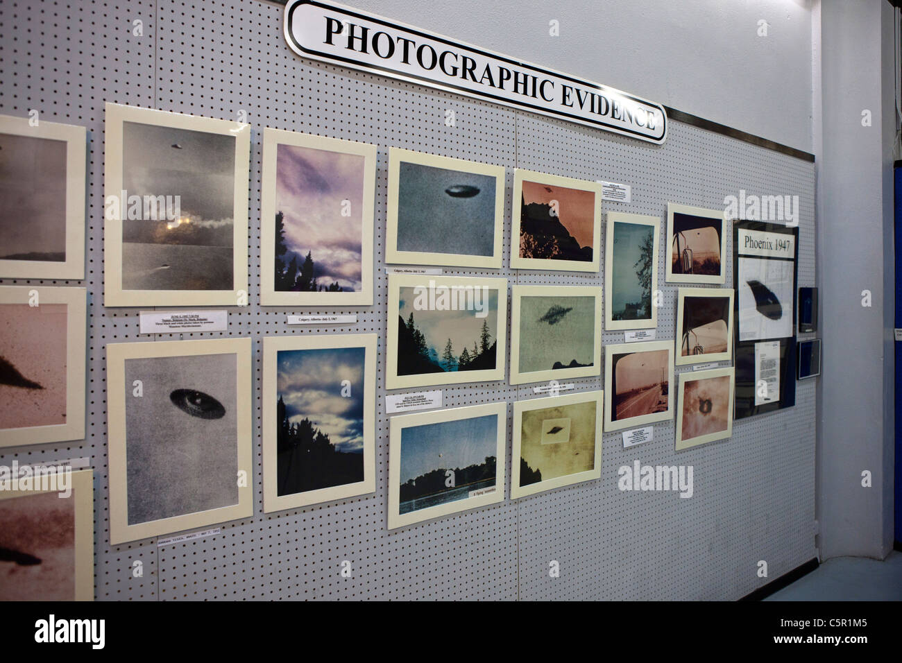 Photographic evidence display of UFOs, International UFO Museum and Research Center, Roswell, New Mexico, USA. - Stock Image