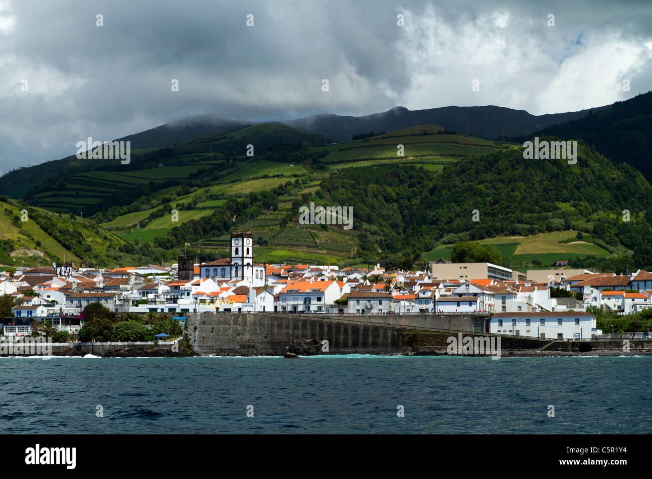 Vila Franca do Campo, seen from the sea, São Miguel island, Azores. - Stock Image
