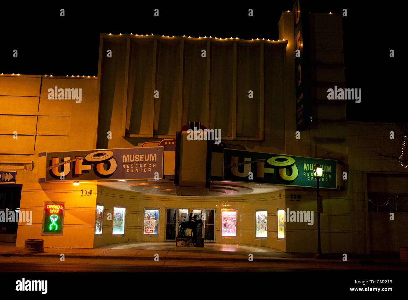 Exterior of the UFO Museum and Research Center at night, Roswell, New Mexico, United States of America - Stock Image