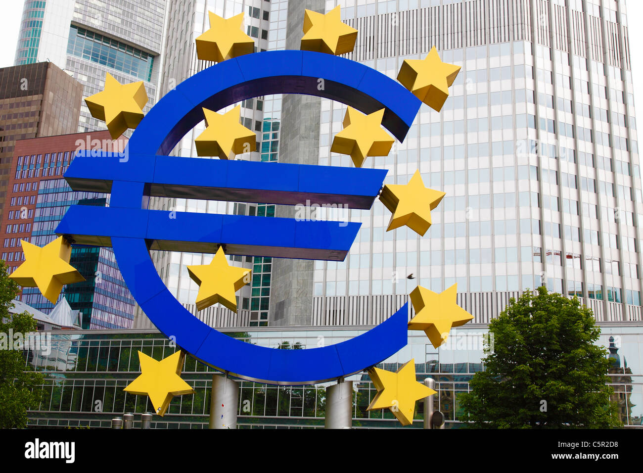 European Central Bank (ECB) with the Euro sign outside in Frankfurt (Main) - Stock Image