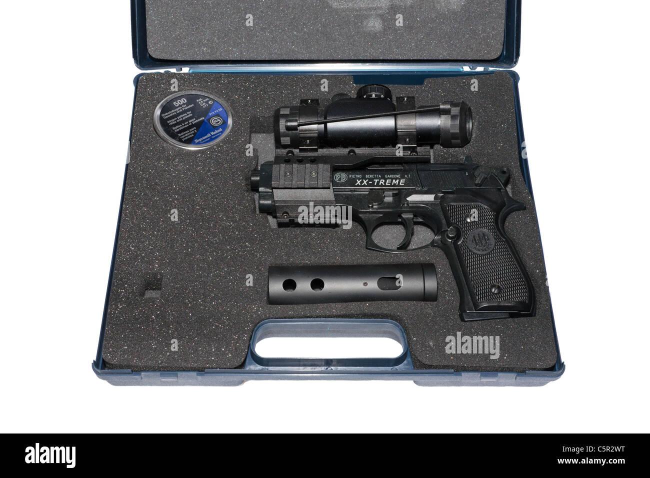 A Beretta air gun handgun powered by compressed gas, fires  022