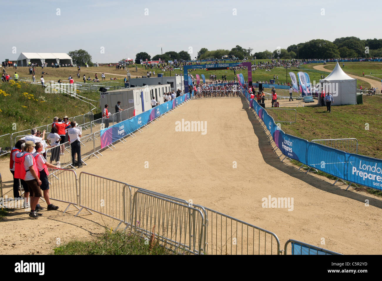 Womens race over 6 laps. General views of the course. Womens Race. Hadleigh Farm Mountain Bike International. London - Stock Image