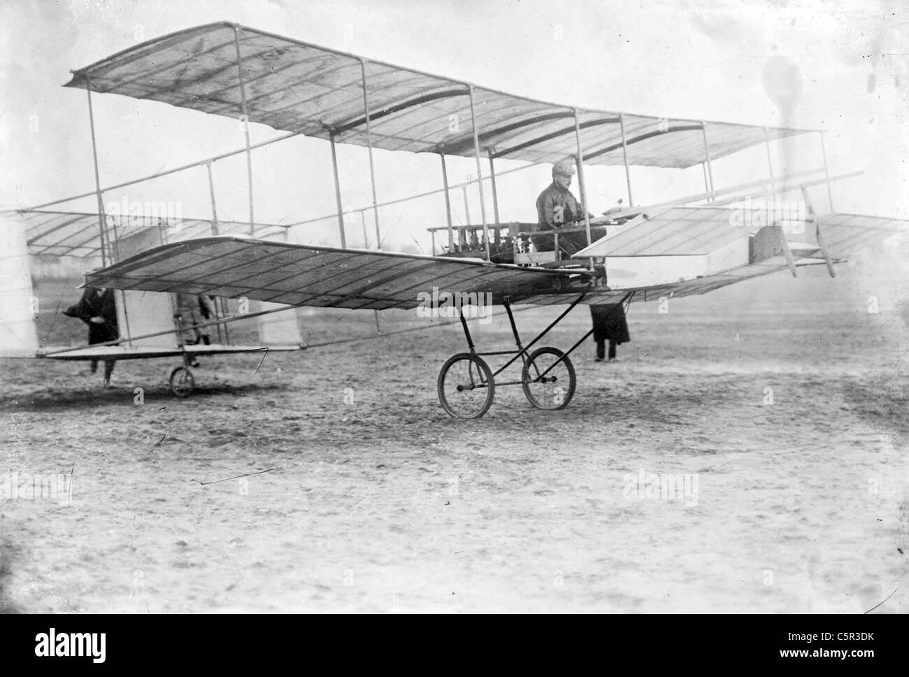 Delagrange in his aeroplane, Leon Delagrange - Stock Image
