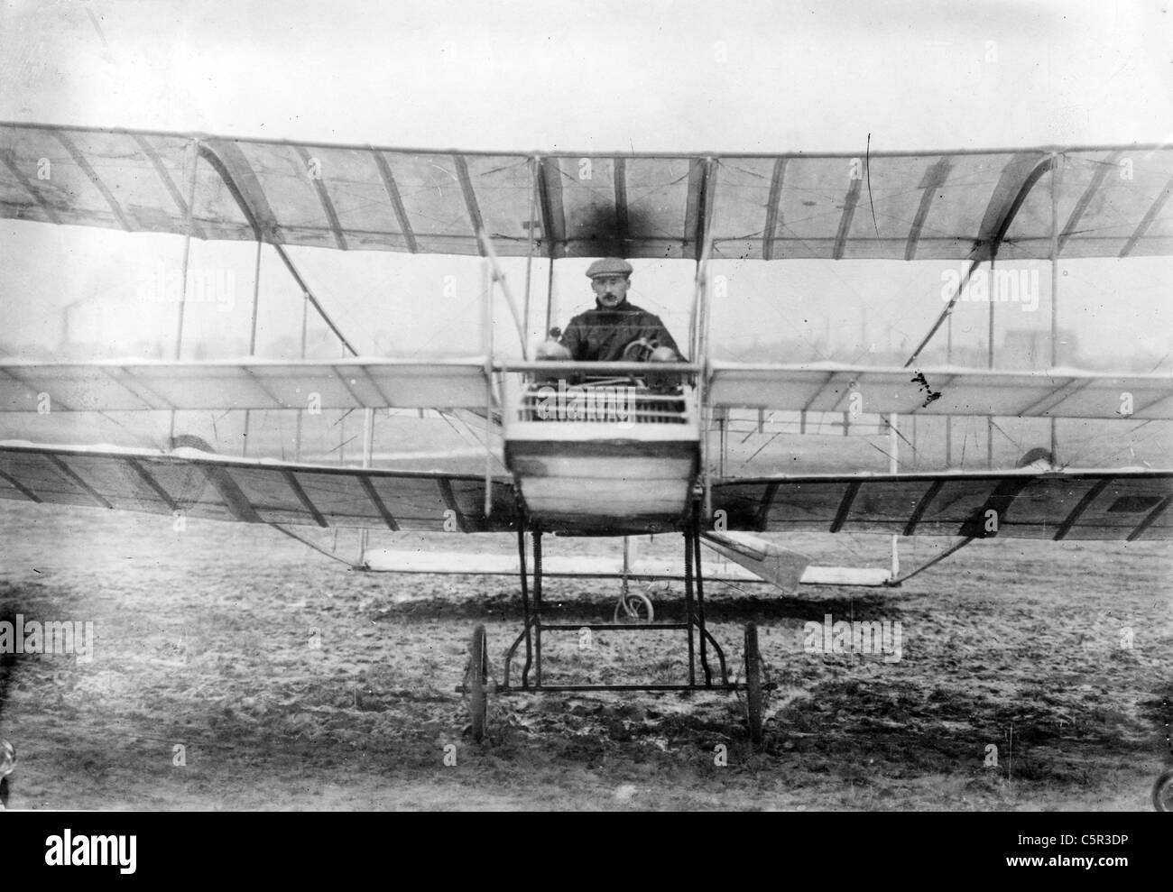 Delagrange in his aeroplane, Leon Delagrange Stock Photo