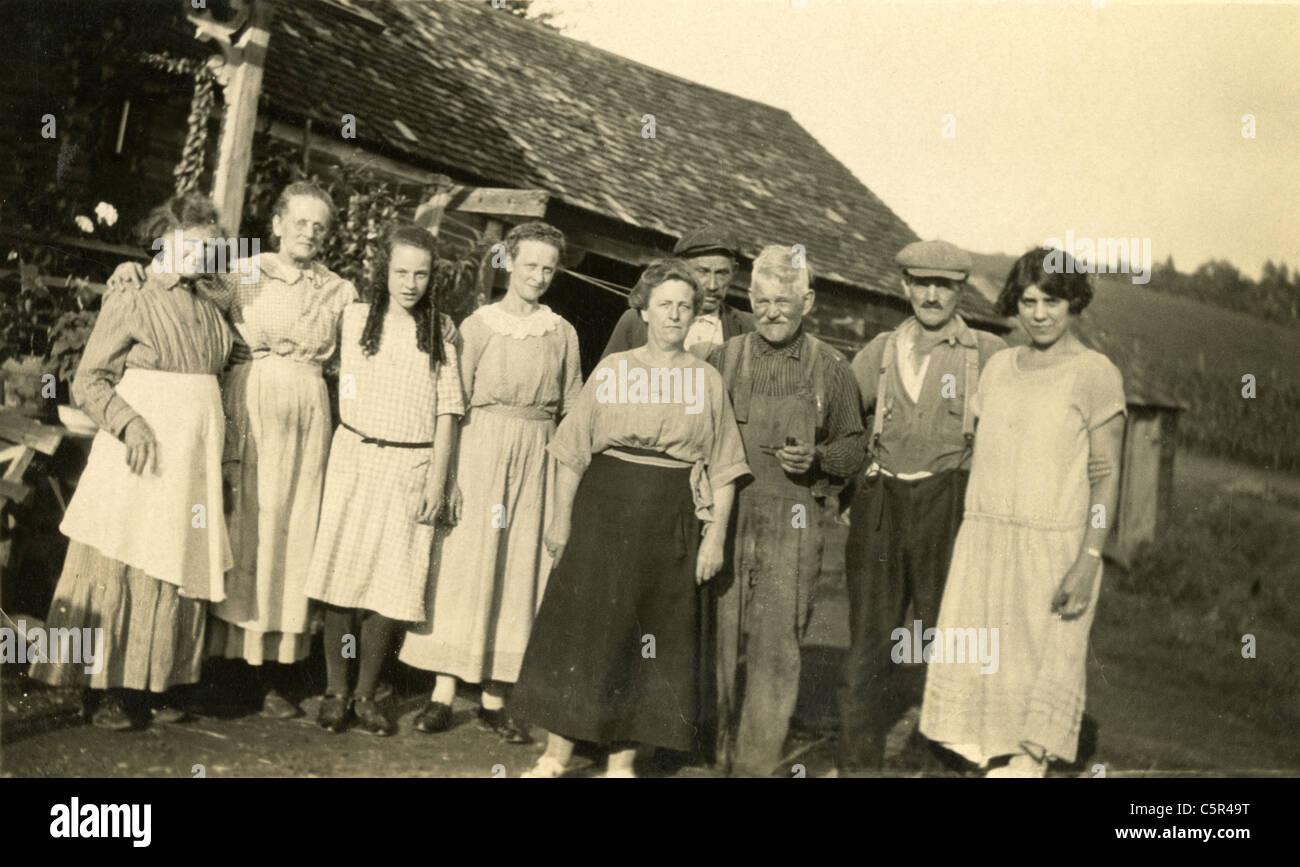 Circa 1930s Depression era farm, probably New England, USA. - Stock Image
