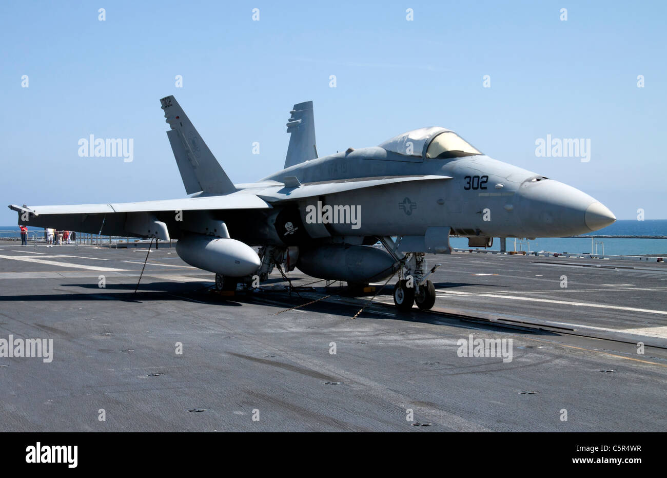F/A-18C Hornet Strike Fighter on flight deck of the USS Abraham Lincoln - Stock Image