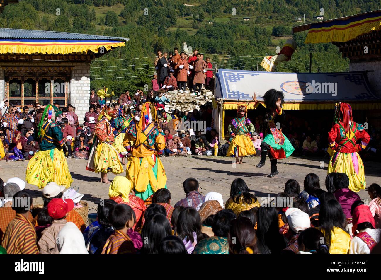 Tsechu at Jampa Lhakhang Drup, Choskhor Valley, Bhumthang. Bhutan. - Stock Image