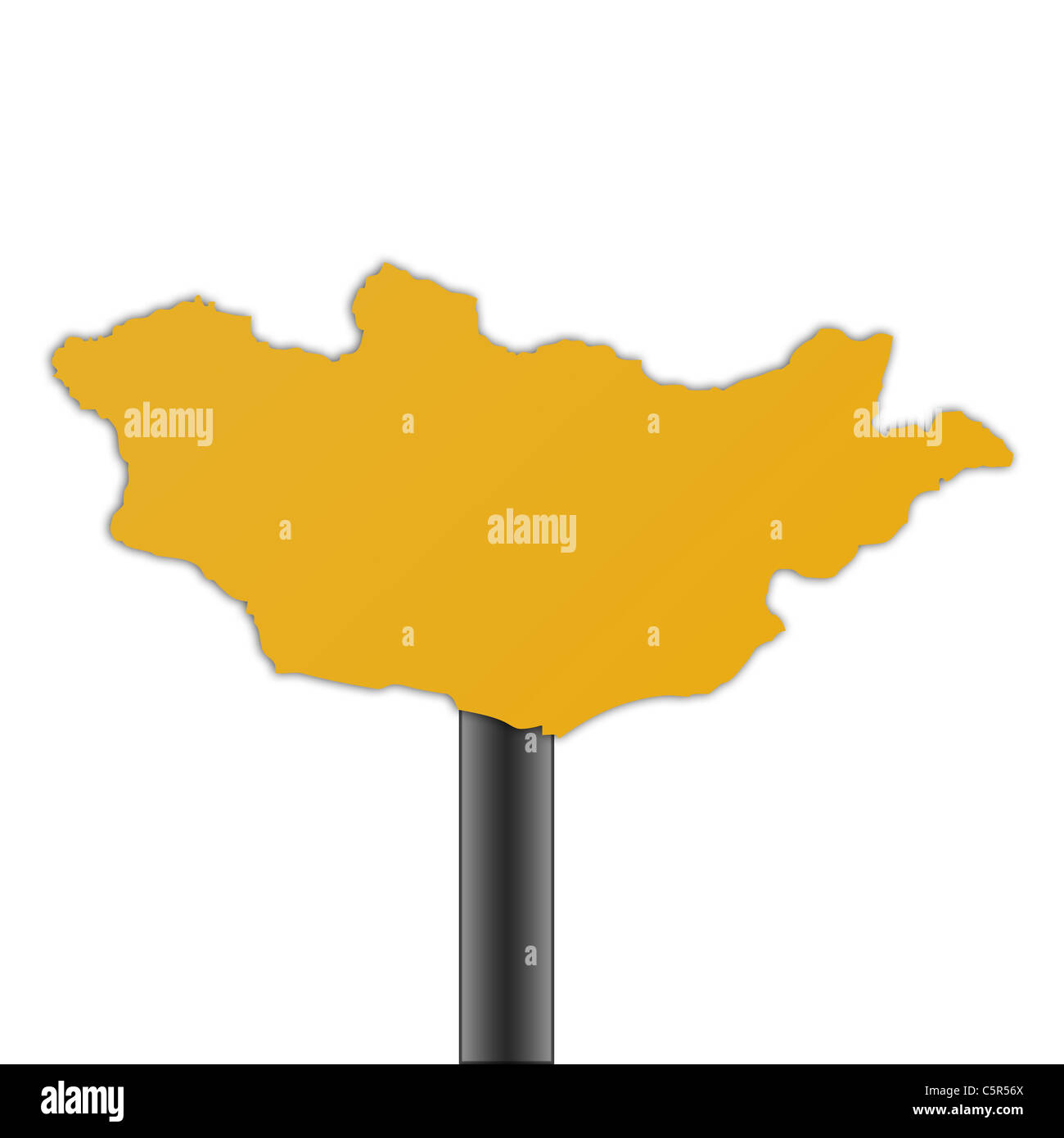 Mongolia map road sign isolated on a white background. - Stock Image
