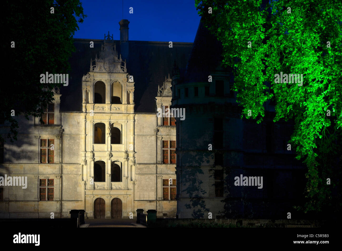 Chateau Azay Le Rideau Illuminated At Night France Fr Stock Photo