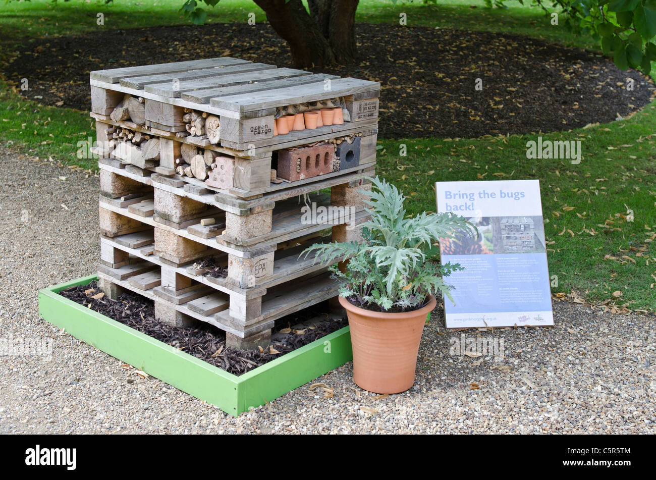 Create insect habitats display Prince Charles's Start initiative for sustainable living.Clarence House garden - Stock Image