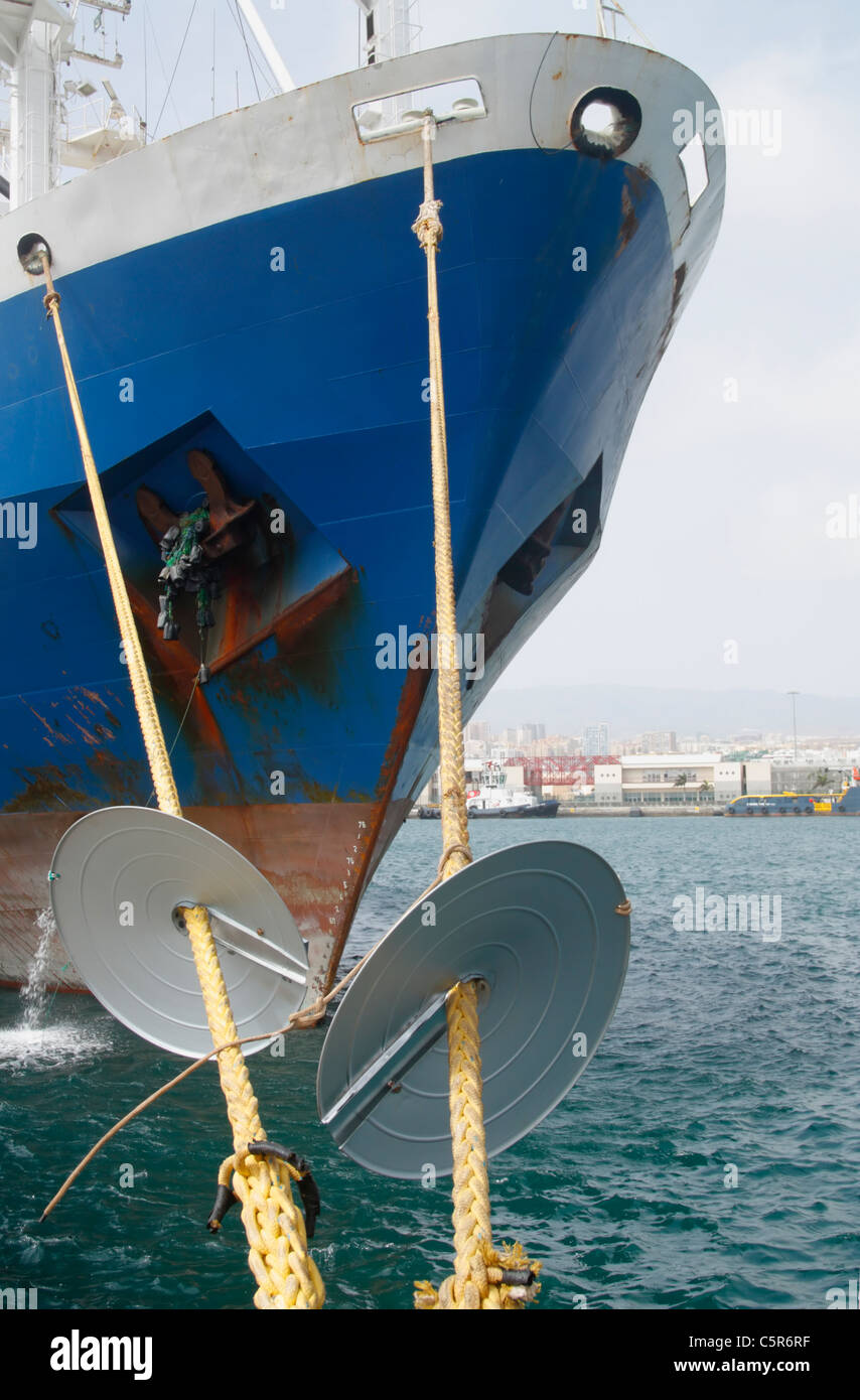 Rat Guards On Ship Mooring Ropes To Prevent Rats Getting