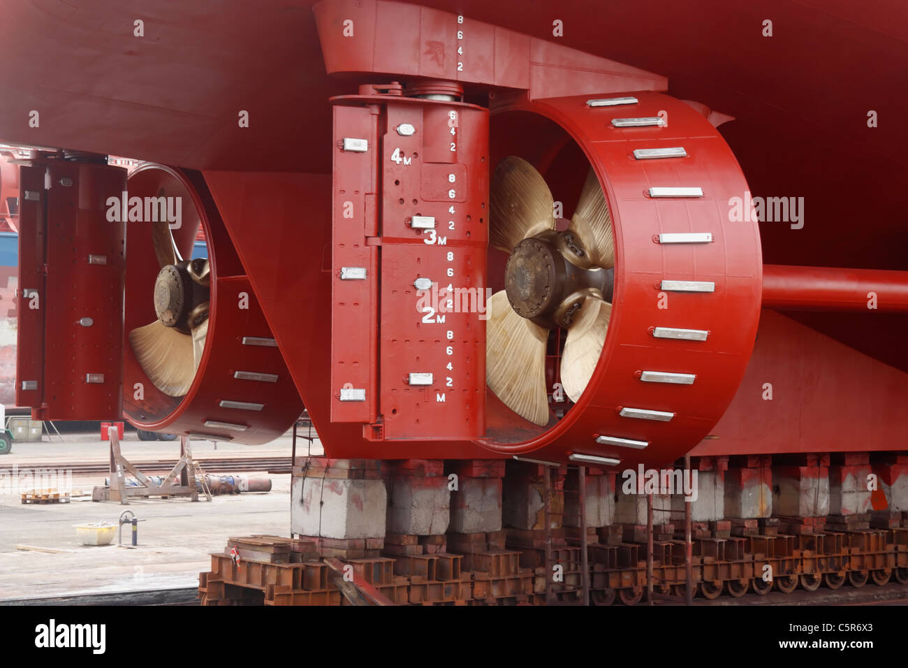 New propellers on ship in Drydock - Stock Image
