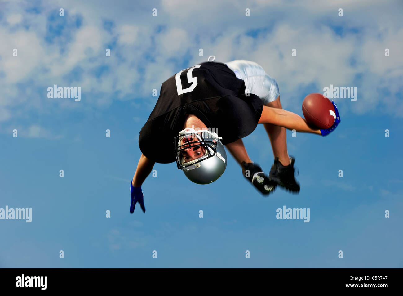 American Footballer celebrates - Stock Image