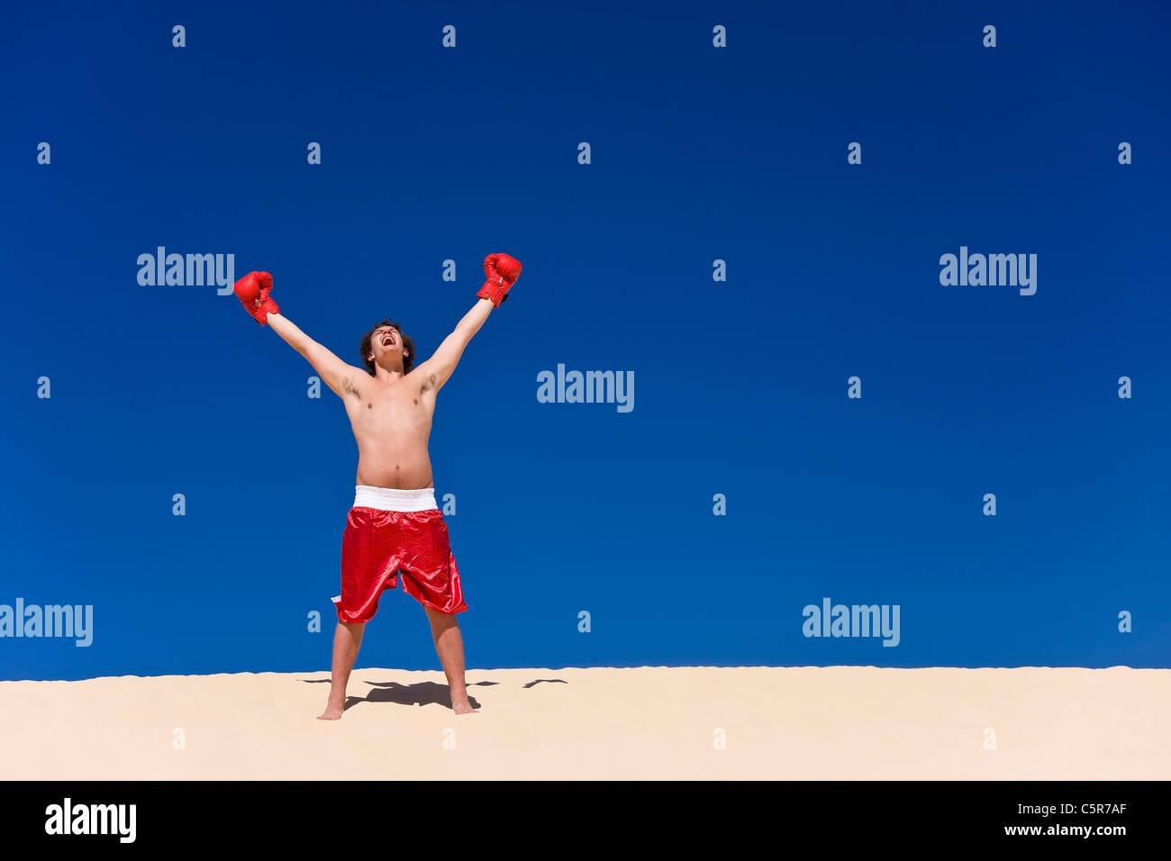 Boxer celebrating - Stock Image