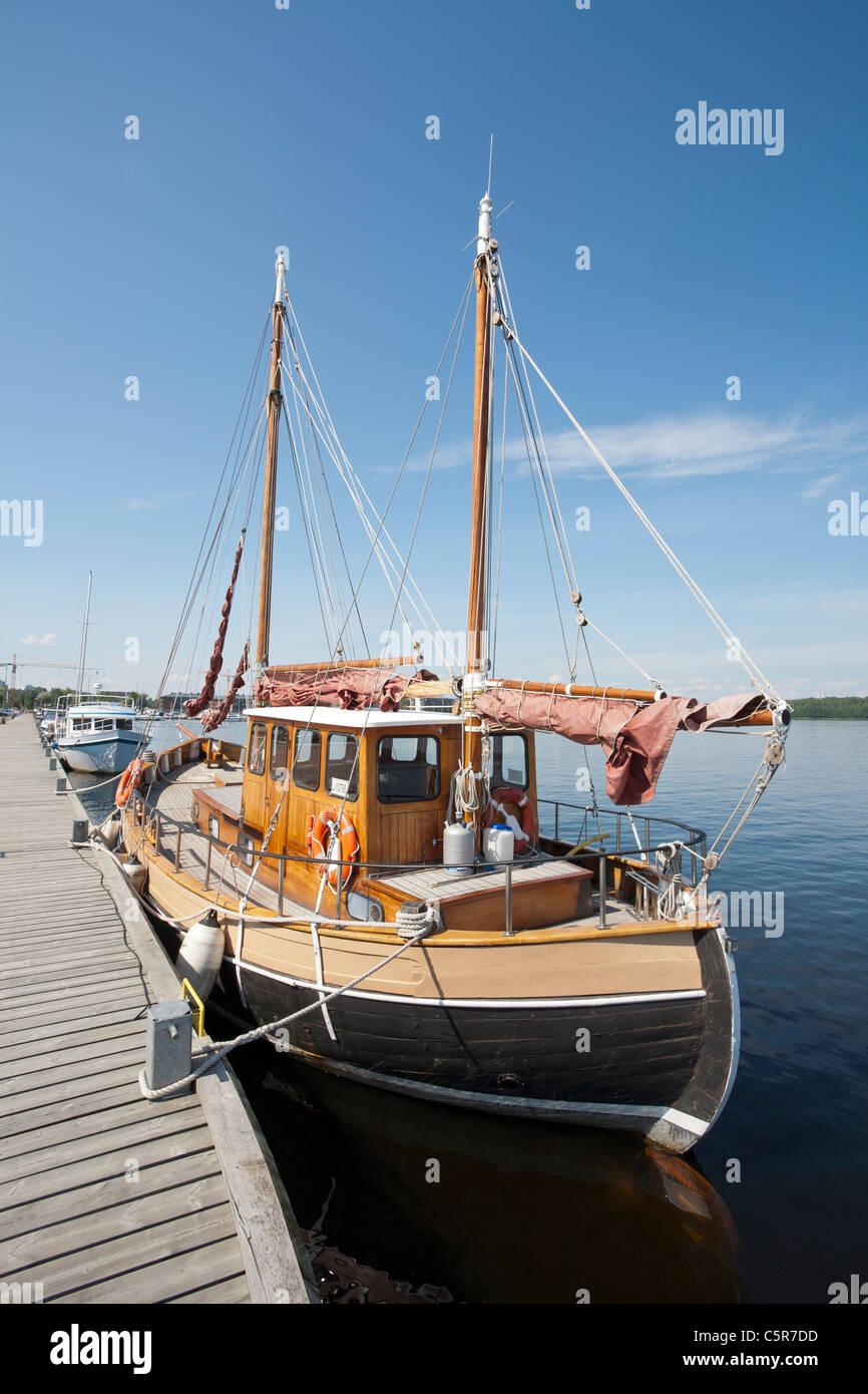 Old Wooden Sailing Ship At Lappeenranta Harbour Stock Photo
