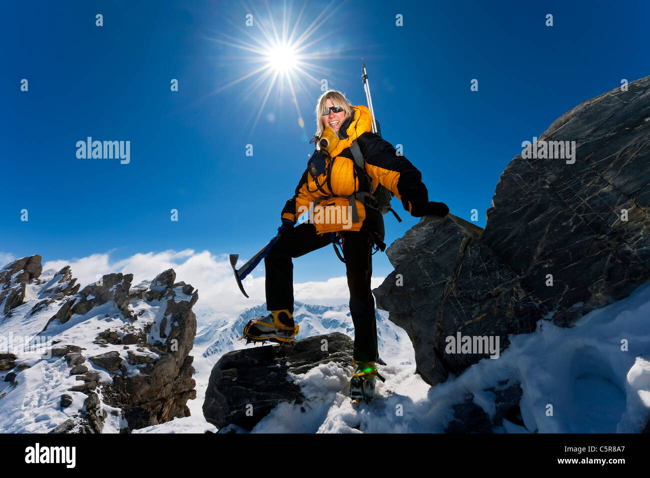 Mountaineer smiles. - Stock Image