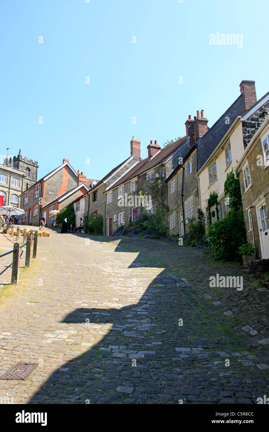 Gold Hill in Shaftsbury Dorset - Stock Image