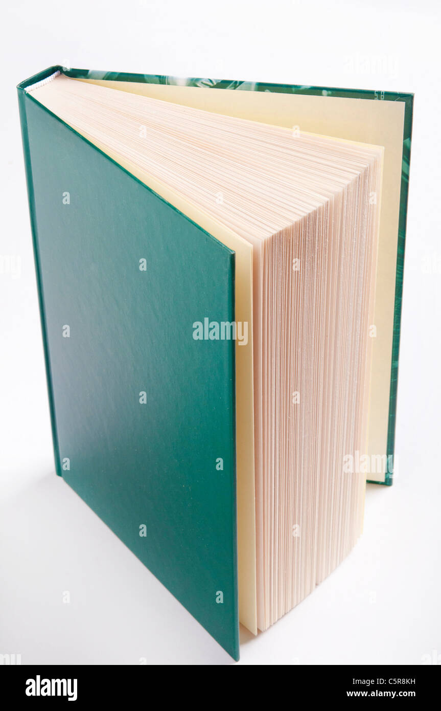 open book with green cover - Stock Image