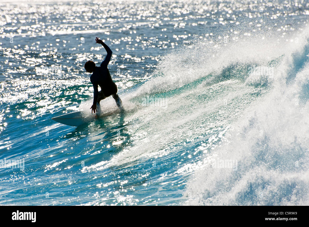 A surfer carving a sparkling wave. - Stock Image