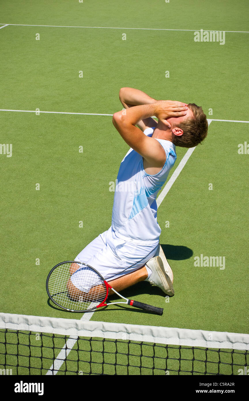 This tennis player should have trained harder to win the game. - Stock Image
