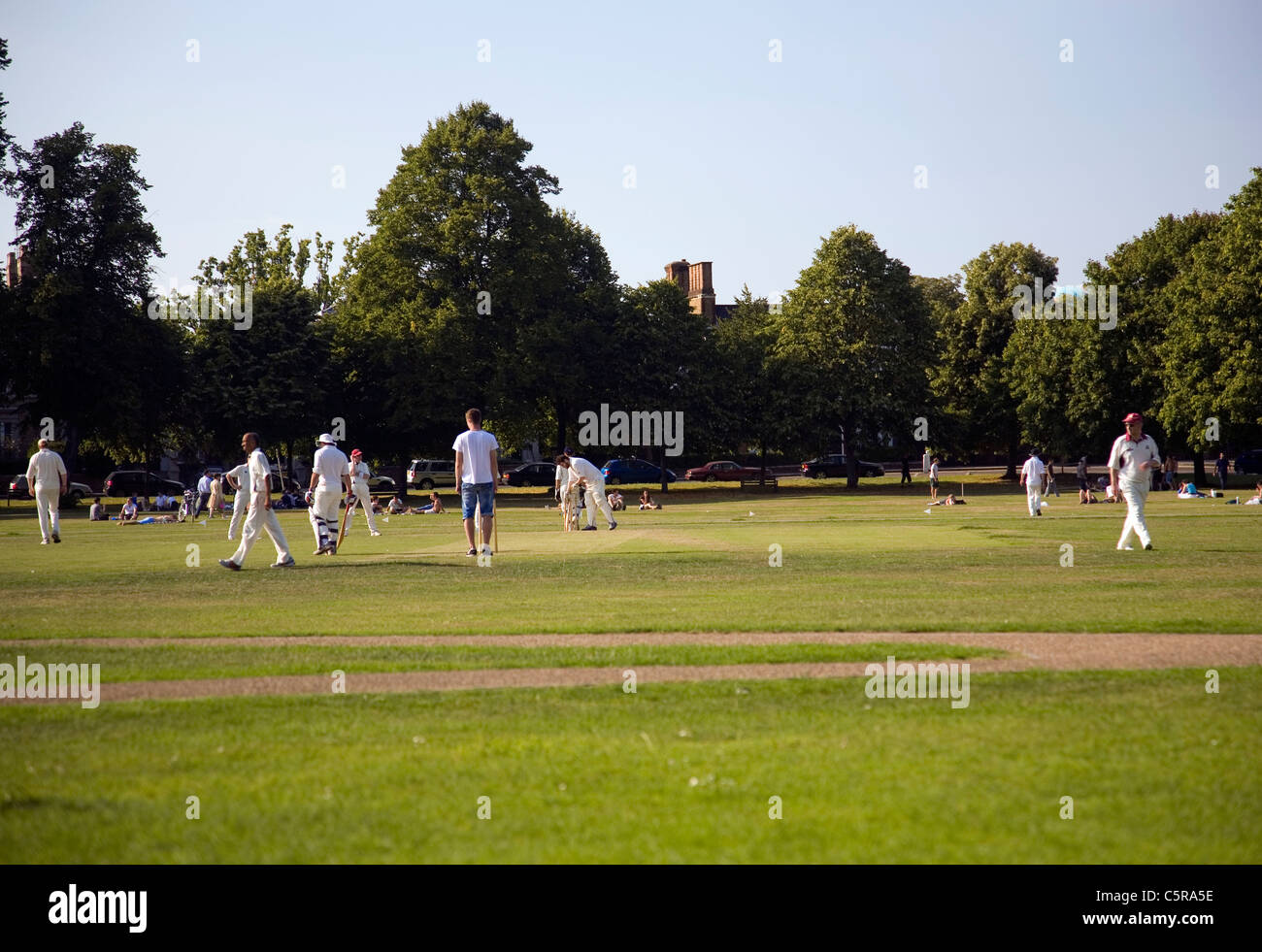 Cricket Game on Richmond Green - Stock Image