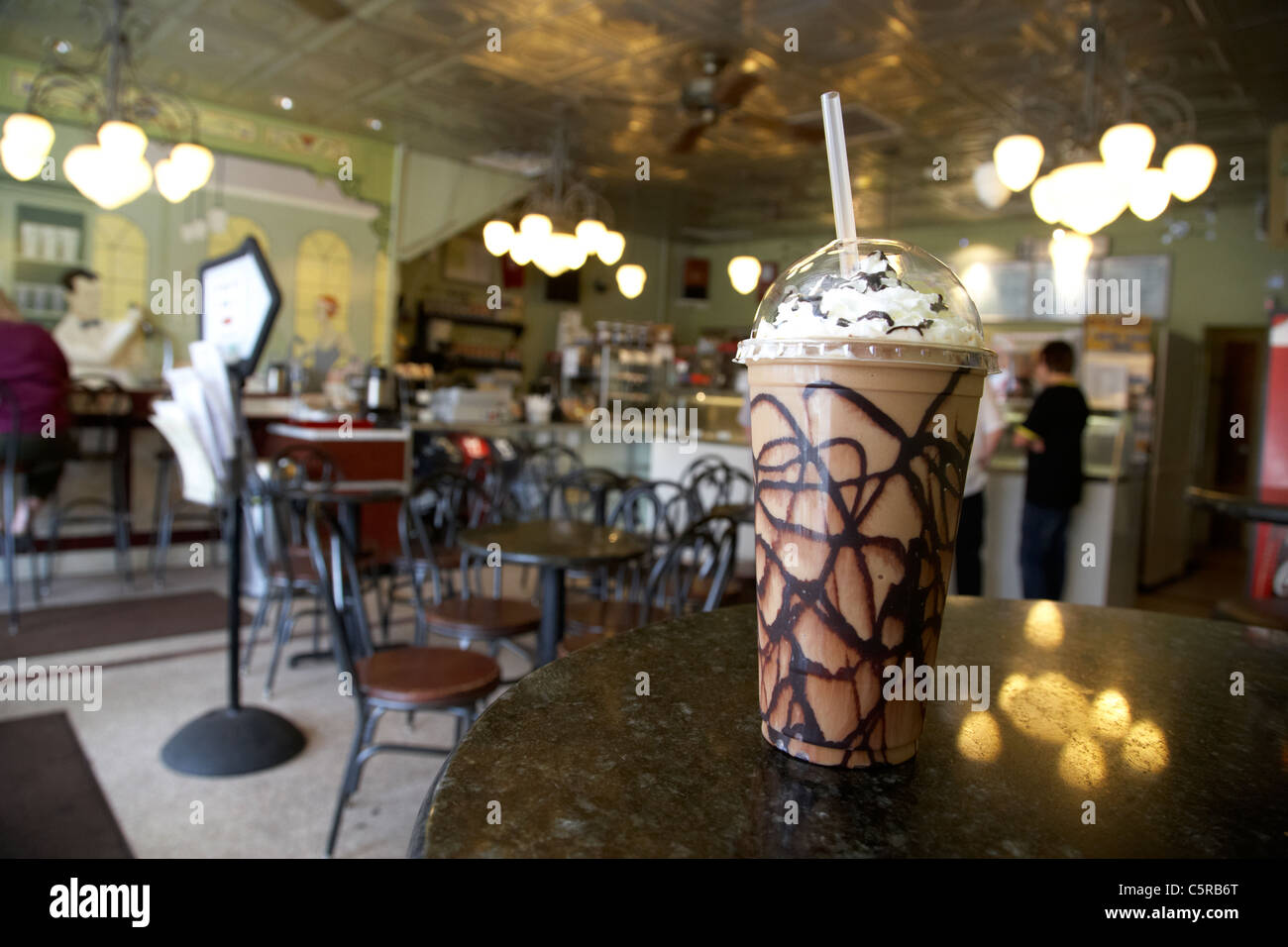 frozen cappuccino coffee in a cafe ice cream parlour Nashville Tennessee USA Stock Photo